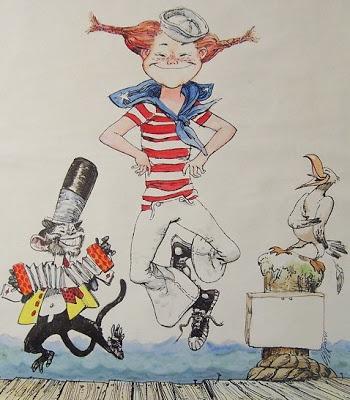 illustration de Pippi Longstocking (ou Fifi brindacier), faite par Louis S.GLANZMAN de la série écrite par Astrid LINDGREN http://www.louisglanzman.com/pippi.html