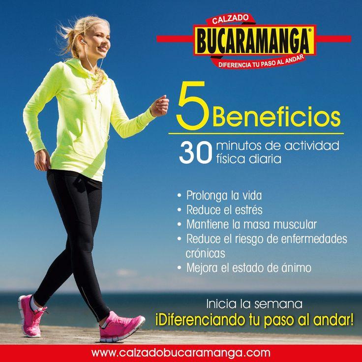 Inicia la #semana diferenciando tu paso al andar con Calzado Bucaramanga   Conoce los 5 #beneficios que te brinda hacer #ejercicio por 30 minutos todos los días.  www.calzadobucaramanga.com webmaster@calzadobucaramanga.com