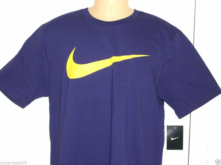 Men 39 s large nike big swoosh logo t shirt purple check tee for Nike swoosh logo t shirt