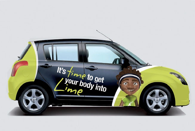 2B Advertising & Design - Club Lime - Car Signage