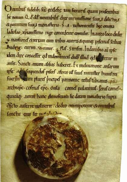Prince David's charter with St Ladislaus's signet (around 1089-90)  Mons Sacer 996-1996. Pannonhalma ezer éve. Szerk.: Takács Imre. Pannonhalma, 1996, volume III. p 247, section E 3.  The Archieves of the Pannonhalma Benedictine Abbey