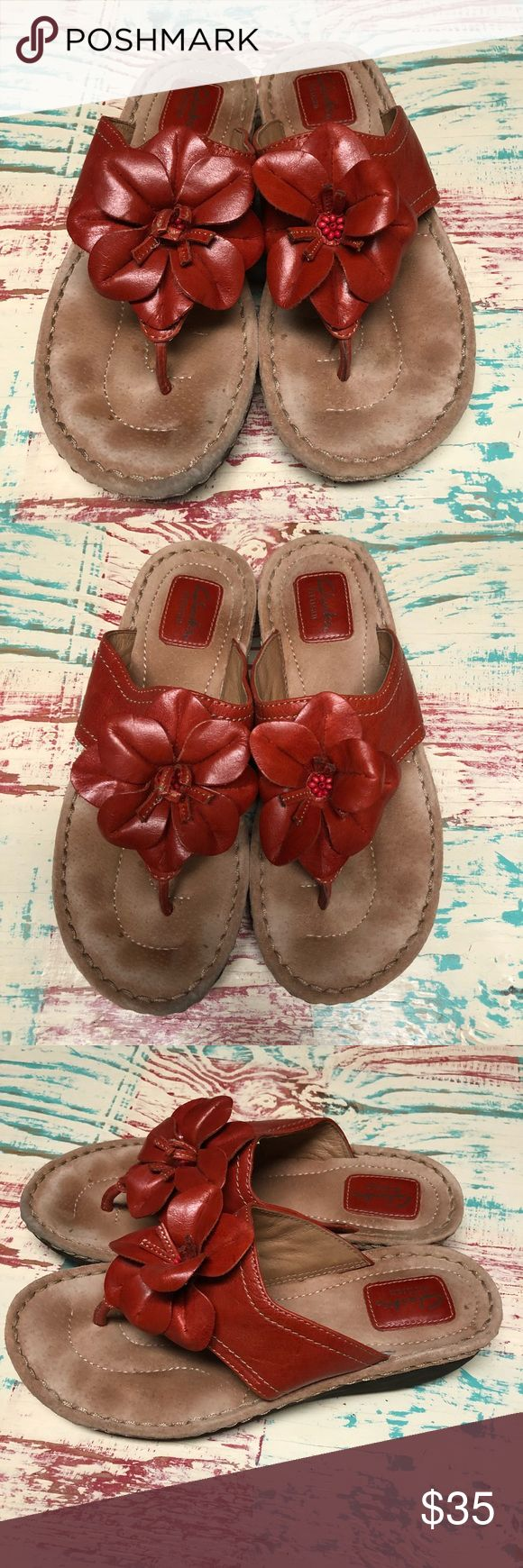 Women's Clarks Artisan Red Flower Leather Sandals Ladies Clarks Artisan Flower Leather Sandals Size 9 Minimally worn, maybe once.  Ready to enjoy this upcoming spring and summer season.  Check out my closet for other Born and Clark shoes to bundle Clarks Shoes Sandals