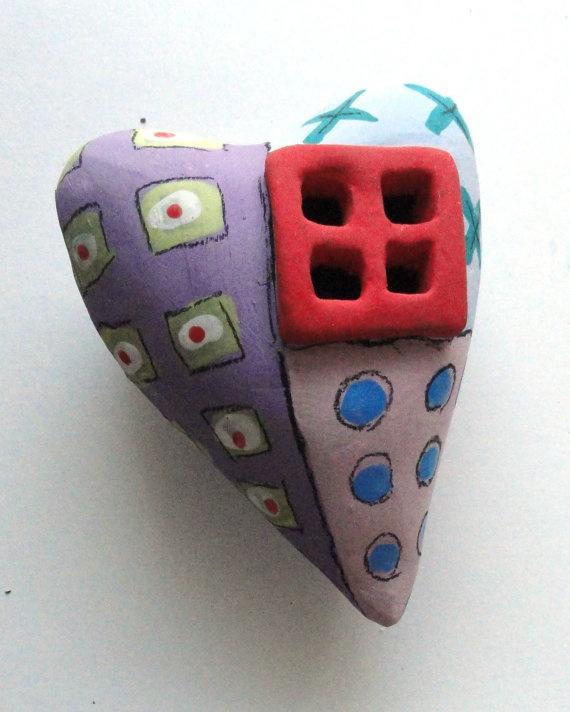 Window to My heart  Abstract graffiti Ceramic  Heart by Mudgoddess