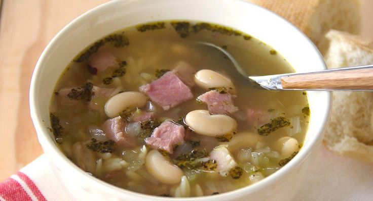 Ham Bone Soup 4 c. Water,  1 container (32 oz) Kitchen Basics® Original Chicken Stock,  1 Ham Bone,  1 med chopped Onion,  2 ribs fine-chopped Celery,  2 Bay Leaves 2 c. diced Ham 1 can (15 oz) drained/rinsed Cannellini Beans,  1/4 c. Orzo,  1 tsp Italian Seasoning 1/2 tsp crushed Rosemary Leaves... Place water, stock, bone, onion, celery and bay leaves in large saucepan or Dutch oven. Bring to boil on MED. Reduce to LOW; Cover and simmer 1 hour. Remove bone. Skim off excess fat. Stir in…