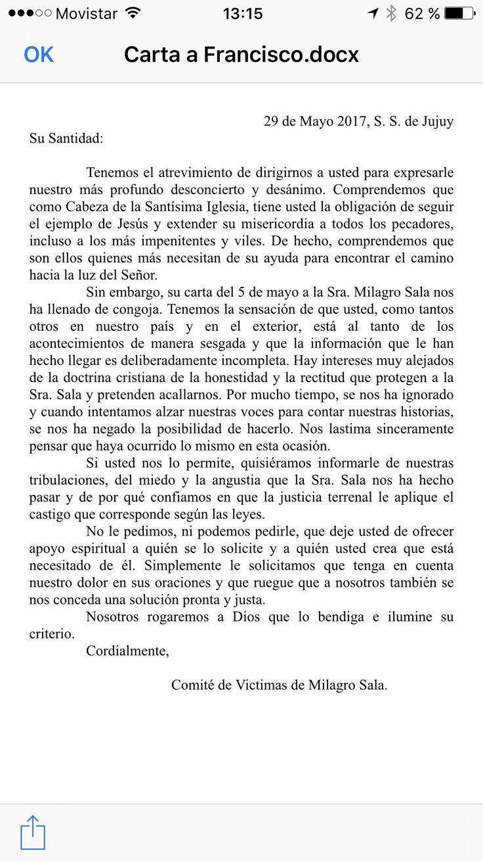 Carta de las víctimas de Milagro Sala al papa Francisco   Medios y Opinión