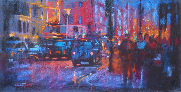 Shaftesbury Avenue, chalk pastel. 30ins by 20 ins. jamel akib