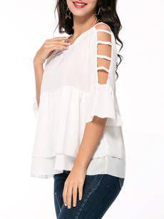 Cutout Ruffled Hem Solid Short Sleeve T-Shirt