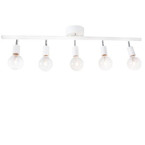 Design: Katarina Dahl. Row är en ny spotlightskena för taket från By Rydéns. Den finns med tre eller fem ljuspunkter och i vitt, koppar- eller mässingslack.