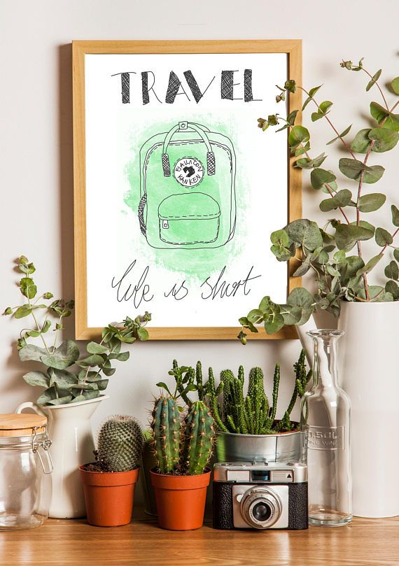 Minimalist 'Travel You Only Live Once' Green Print