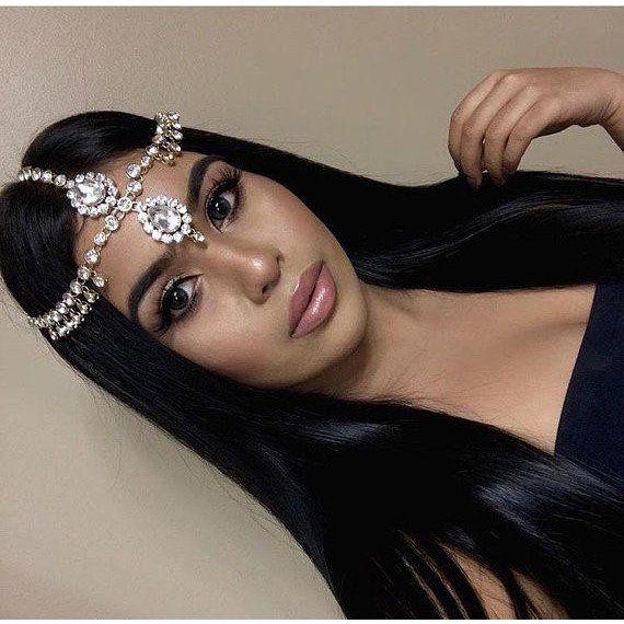 Gold Clear Rhinestone Wedding Bridal Goddess Bohemian Boho Grecian Head Chain Hair Jewelry Head Piece Bollywood Wedding Prom chain