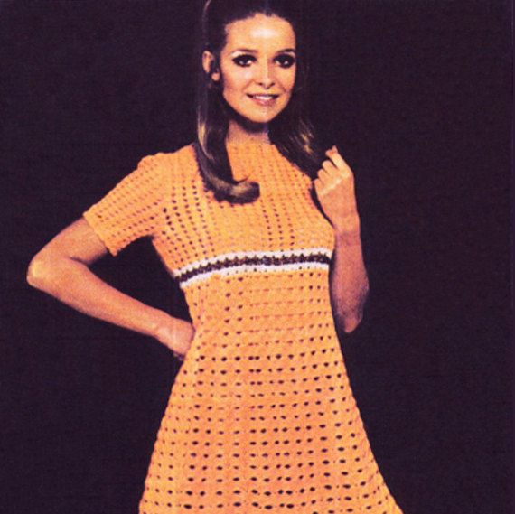 PDF Vintage 1970s Womens Ladies Dress Crochet Pattern Skater