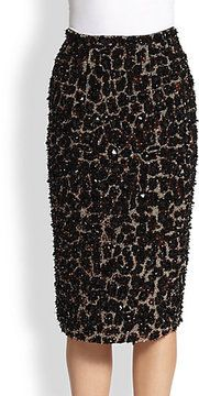 Burberry Prorsum Beaded Leopard-Patterned Stretch Wool Skirt on shopstyle.com
