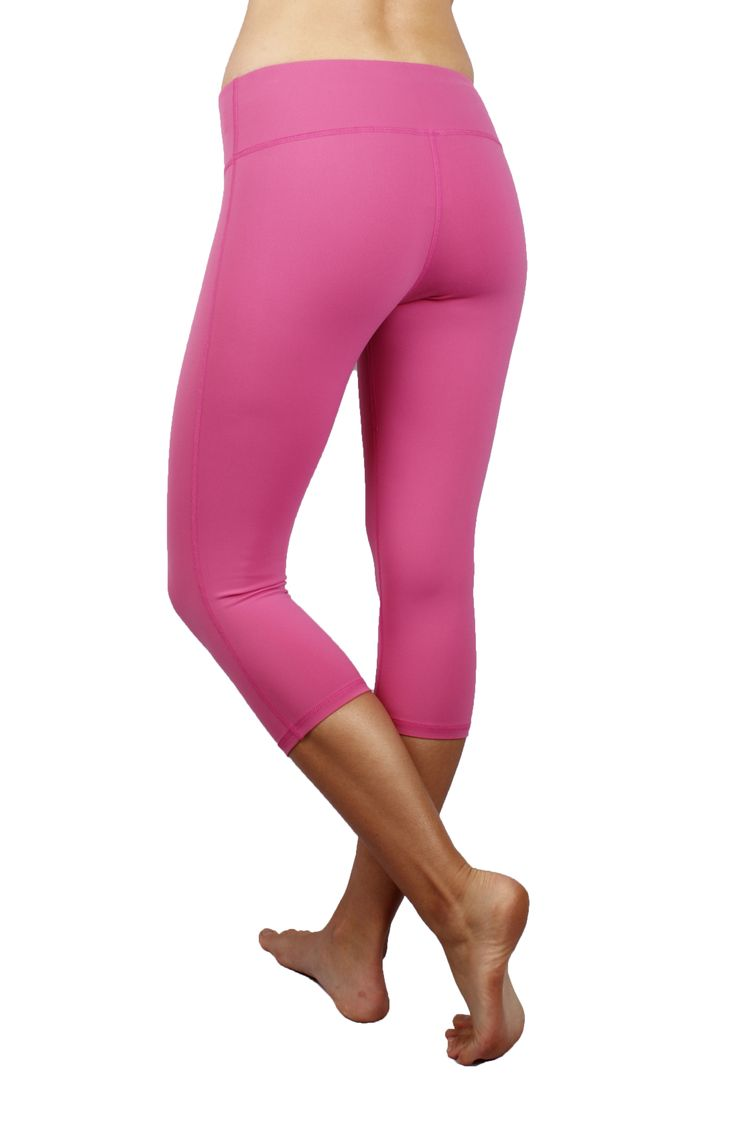 Easy Run #Capris in Pink, three quarter length leg. Tight, legging fit. Resting inseam is 17.25-18 inches.