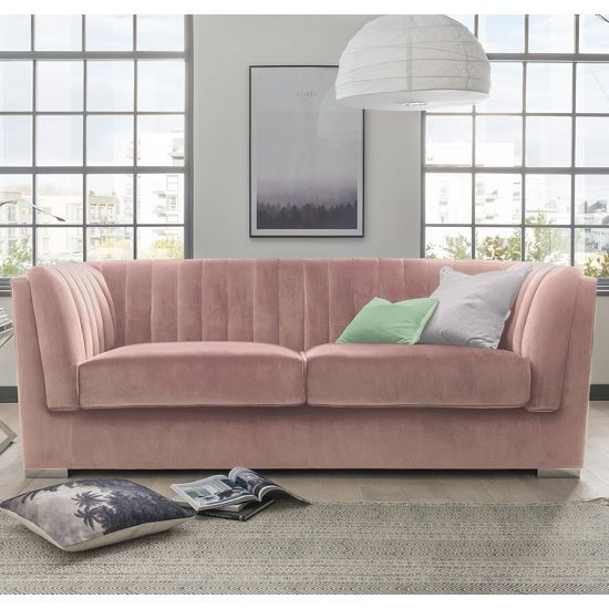 Flores Fabric 3 Seater Sofa In Pink Velvet With Chrome Legs
