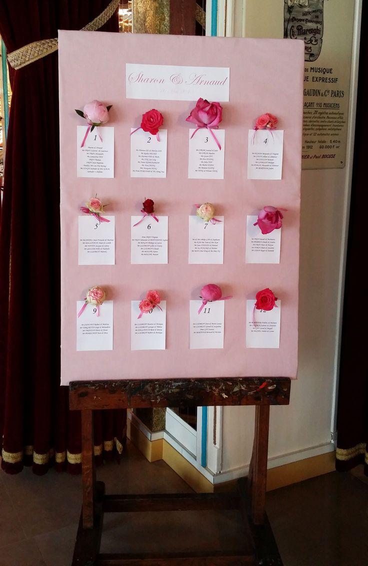 Plan de table original avec têtes de fleurs : pivoines et roses, dans un dégradé de rose. Plan de table, table, plan, flower, flowers, fleurs, pastel, peony, wedding, mariage, decoration, décoration, Déco Ré Majeur, Lyon, France