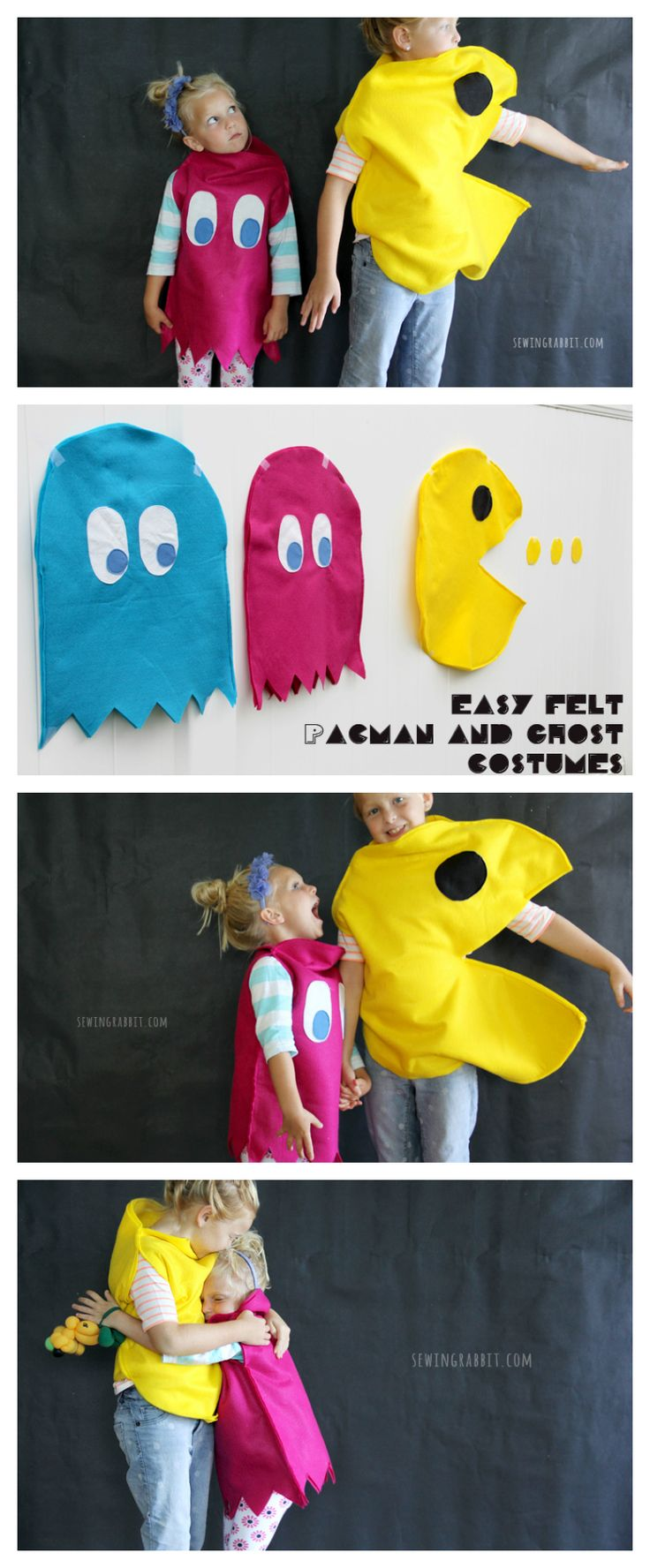 Easy Felt Handmade Costume for Kids | Kids Costume Ideas | Pac-Man & Ghosts from @mesewcrazy