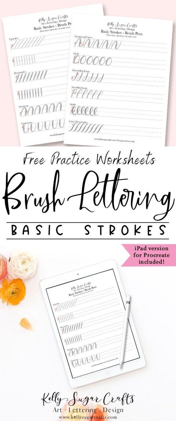 Predownload: Brush Lettering Practice Basic Strokes Worksheets Kelly Sugar Crafts Hand Lettering Worksheet Hand Lettering Practice Sheets Brush Lettering Practice [ 1380 x 577 Pixel ]