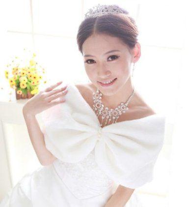 Amazon.co.jp: 【PLOVER】 パールピース付き ファー ショール 白 ホワイト フォーマル 結婚式 パーティー レディース ストール 肩掛け PR-502: 服&ファッション小物