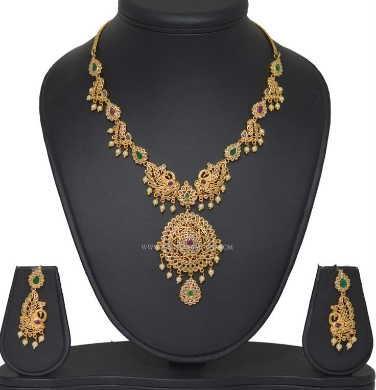 Gold plated stone pachi necklace designs. For more necklace designs, check out our complete collections.