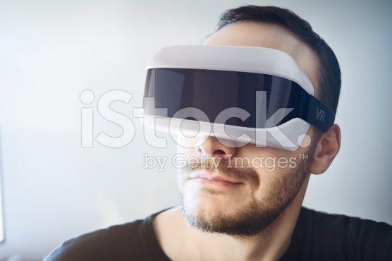 Man wearing virtual reality headset royalty-free stock photo