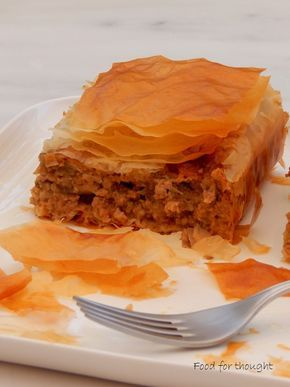 "Melitzanopita (Eggplant ""pie"") with minced meat"