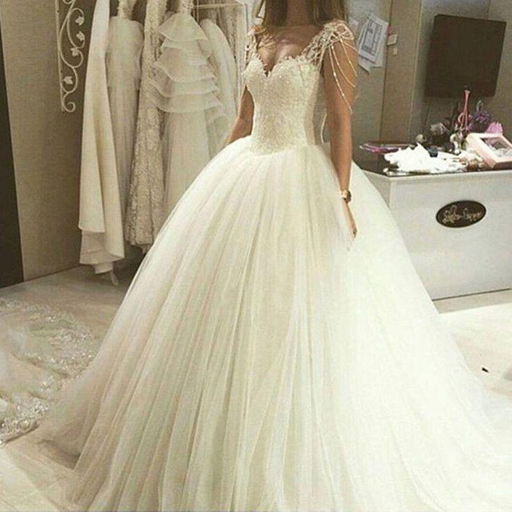 Luxuriös Spitze Perlen Weiß/Elfenbein Brautkleider Hochzeitskleid Tüll Ballkleid | eBay