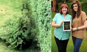 GARDEN GHOST WITH TOP HAT! Victorian spook in a top hat caught in 'spooky' iPad image. Charlotte Wearing, 16, got a big shock when a picture she took in the family backyard showed a man wearing a top hat and cape amongst the bushes. The man, who has been nicknamed Jack, has visited the family home in Ward Green Barnsley regularly over the last four years.