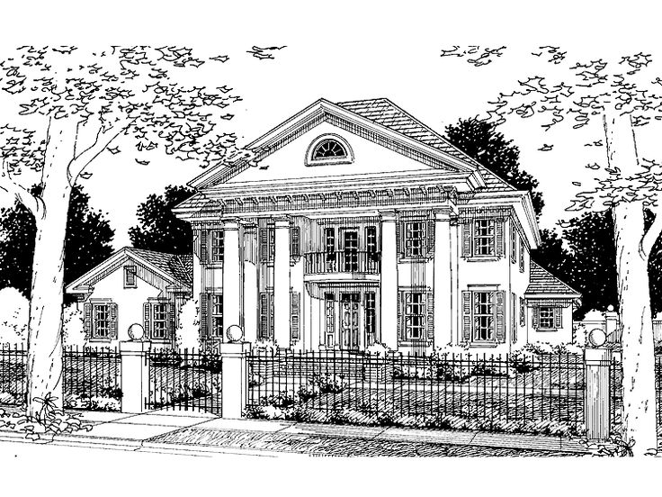 Eplans greek revival house plan four bedroom greek for One story greek revival house plans