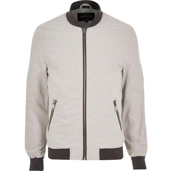 River Island Grey bomber jacket ($78) via Polyvore featuring men's fashion, men's clothing, men's outerwear, men's jackets, stone, mens tall jackets, mens zip up jacket, mens gray leather jacket and mens grey jacket