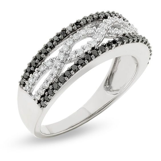 1 2 Ct T W Enhanced Black And White Diamond Infinity Ring In 10k White Gold White Gold Diamond Bands