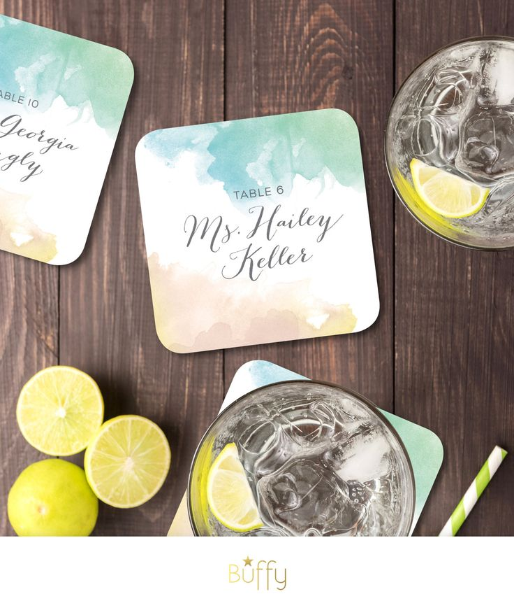 wedding table name card size%0A Name Card Drink Coasters with Wedding Guests  u     Tables   Watercolor  Calligraphy Blush