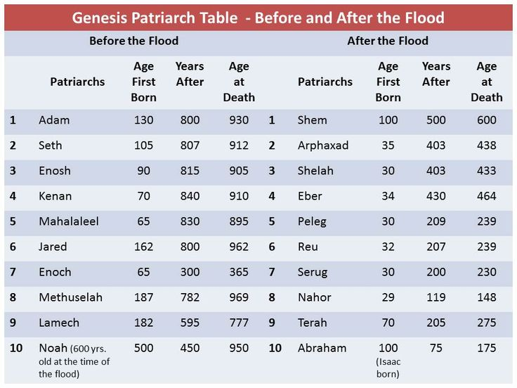 Bible Patriarchs before & after the Flood from Adam to Abraham