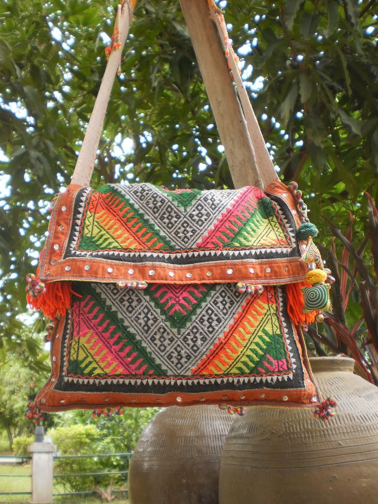 Beautiful upcycled Textiles!  Tribal Vintage  Hmong Bag Made With Upcycled Hmong  Hilltribe Textile.