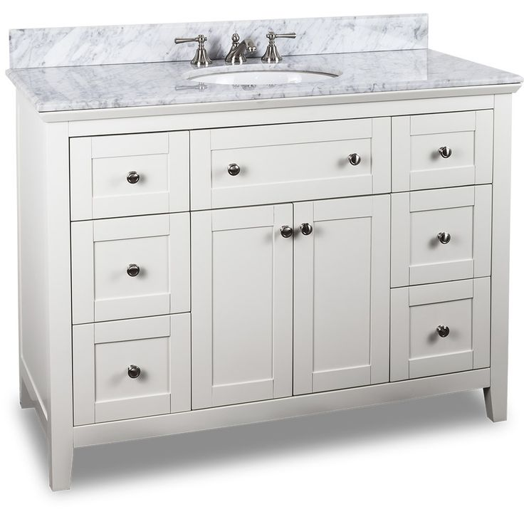 48 inch White Finish Bathroom Vanity Carrera Marble Countertop  Drawers are  solid wood dovetailed drawer boxes fitted with full extension soft close  slides. 53 best White Bathroom Vanities images on Pinterest   White