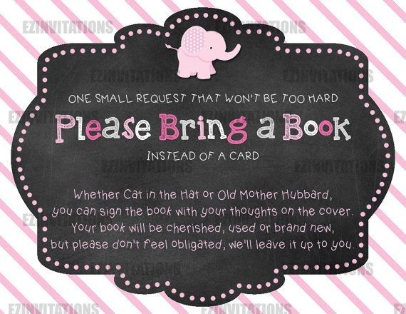 Pink and Grey Chalkboard Elephant Baby Shower Book Request Cards - PRINTABLE!!! by laurie