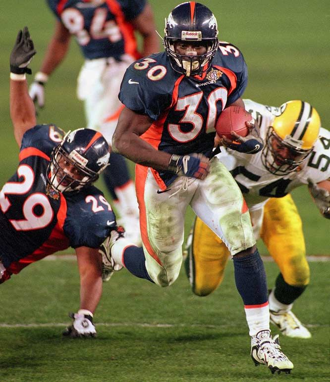 Super Bowl XXXII  Denver Broncos  31  Green Bay Packers  24  Jan. 25, 1998  Qualcomm Stadium  San Diego, California  MVP: Terrell Davis, RB, Denver