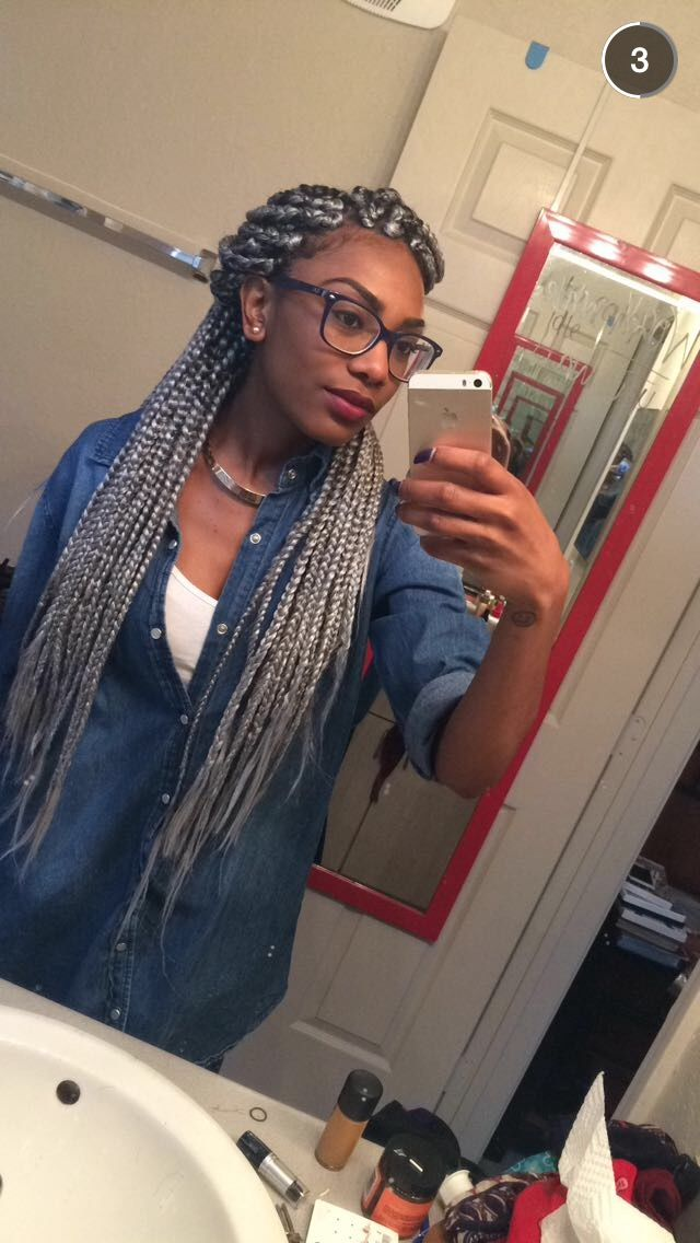 Gray box braids
