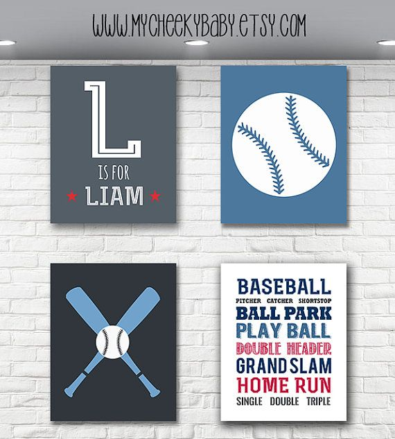 Welcome To My Cheeky Baby Boutique For Sale Is An Adorable 8x10 Custom Baseball Theme Baby Boy Nursery Print Set Printed On High Q Baseball Nursery Nursery Prints Baby Nursery Art
