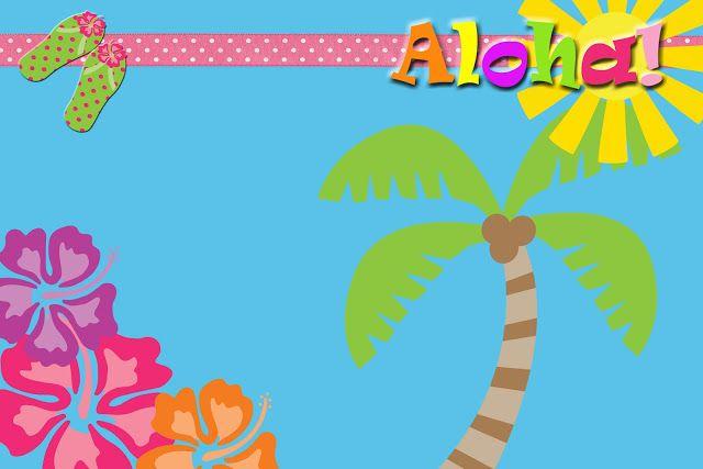 Invitaciones, etiquetas y toppers de Fiesta Hawaiana para imprimir gratis Decoracion de