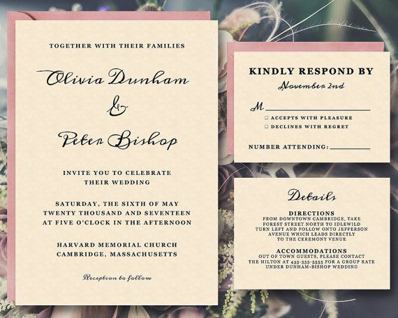 Printable Wedding Invitation Template Suite | INSTANT Download | Word or Pages | Easy DIY ...