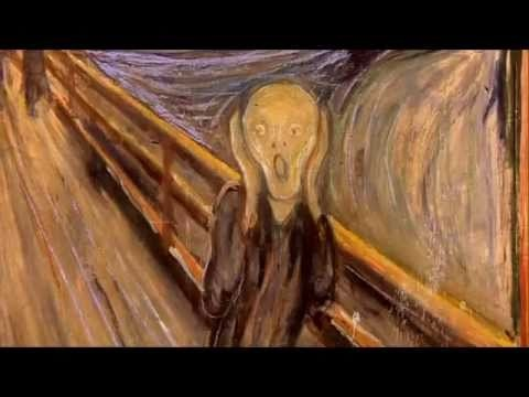 """Munch - Private life of a Masterpiece shows the actual road (not a bridge) where this scene takes place, discusses why Scream is an ICON for the stress of modern life, shows humorous parodies, and states that the figure is NOT screaming. Munch felt a """"loud unending scream piercing nature"""". Some of video not appropriate for elementary ages (I bought the video and edited it in iMovie). Ms Maggie Mo's 4th graders love the parodies, and learn to make art expressing emotions."""