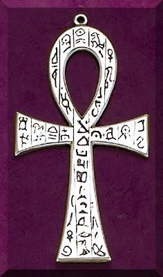 """The ankh, also known as key of life, the key of the Nile or crux ansata (Latin meaning """"cross with a handle""""), was the ancient Egyptian hieroglyphic character that read """"eternal life"""", a triliteral sign for the consonants ꜥ-n-ḫ. Egyptian gods are often portrayed carrying it by its loop, or bearing one in each hand, arms crossed over their chest"""