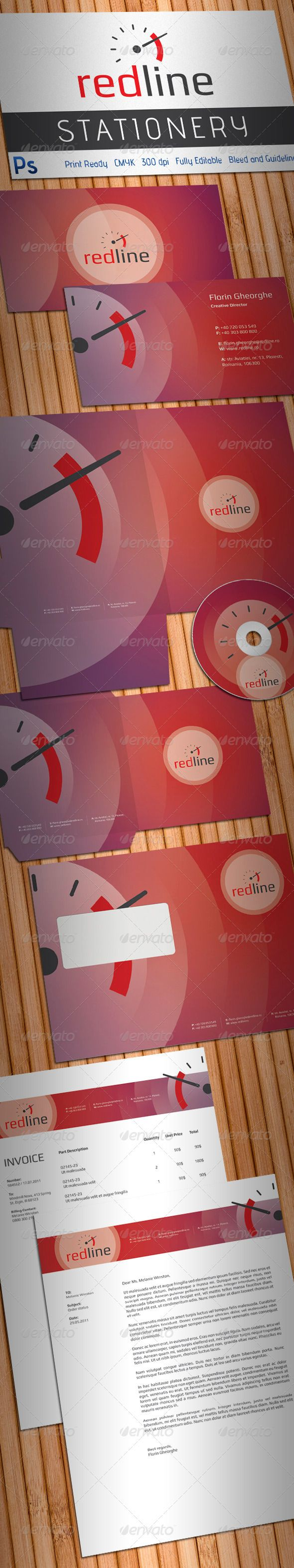 Redline High Performance Auto Parts Stationery  #GraphicRiver         Simple, clean