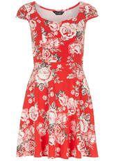 Rose print sweetheart dress - Dorothy Perkins