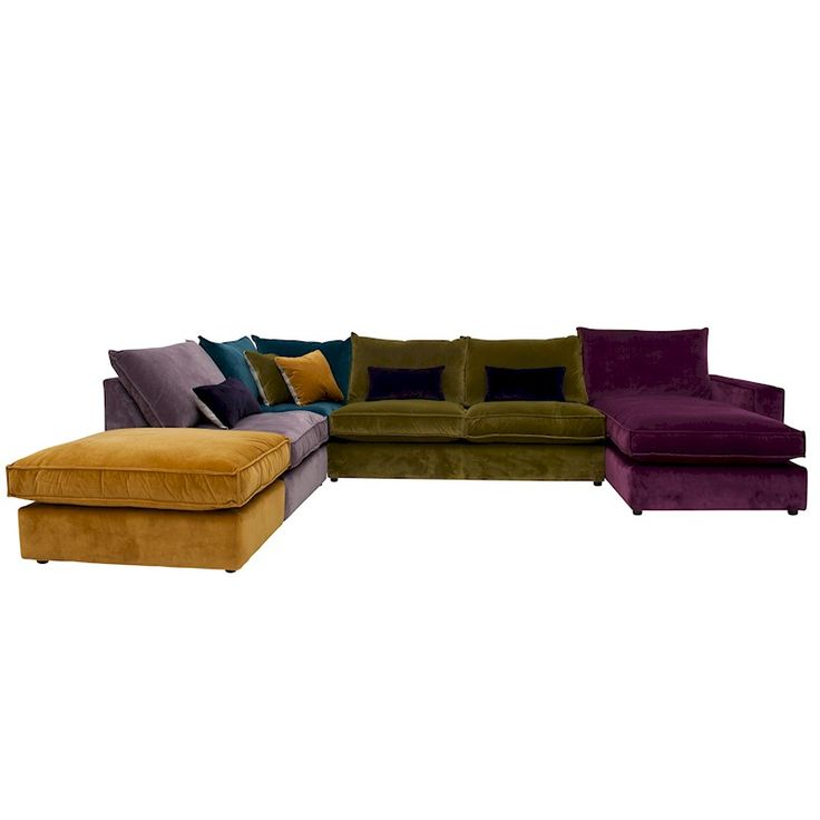 This corner sofa is made up of five sections which join together and is supplied with two scatter cushions and and three bolster cushions.