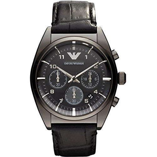 Brand: Emporio ARMANI Case Diameter: about 43 mm (without Crown) Modell: AR0393 Case Thickness about 12 mm > Band Length: about 23 cm Display Type: analog Band Width: about 20 mm Dial Colour: black Clasp: buckle Crystal material: Mineral Water Resistant Depth: 5 ATM Case Material: stainless-steel Band Material: leather / black included:   #AR0393 #Emporio Armani #EMPORIO ARMANI mens AR0393 Chronograph