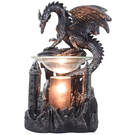 Decorative Guardian Dragon on Castle Electric Oil Warmer and Wax Tart Burner in …