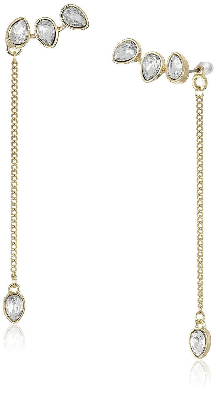 BCBGeneration Pear Stone Climber and Back Drop Earrings ** Tried it! Love it! Click the image. : trend jewelry 2016