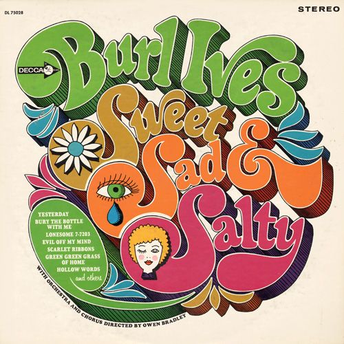Sixties artwork on Burl Ives album cover
