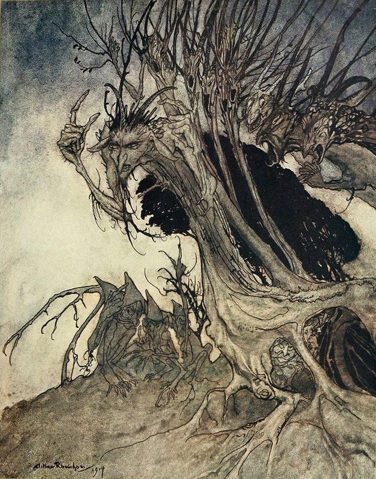 Arthur Rackham, Calling Shapes and Beckoning Shadows Dire | Dark Classics
